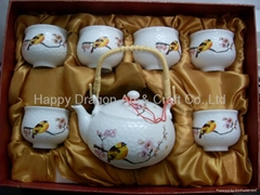 7 pcs Chinese Porcelain Double layer tea set with decal