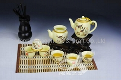 Tree and Bird Porcelain Gongfu Tea Set