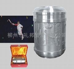 廣西柳州民族特色商務禮品——百里柳江純錫茶葉罐