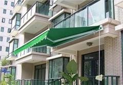 陽台遮陽棚曲臂式電動雨篷折疊篷伸縮