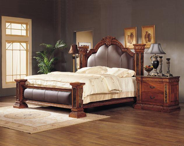 luxury classical king size wooden bedroom set 517