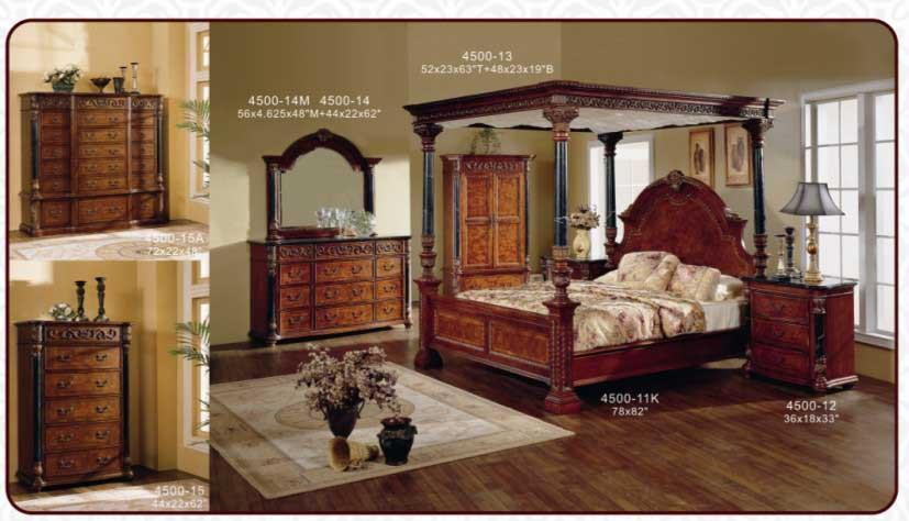 Classical Antique Wooden Canopy Bedroom Sets/king Bed