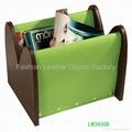 Faux Leather (PU, PVC) Or Genuine Leather Magazine Basket, Leather magazine tote 1