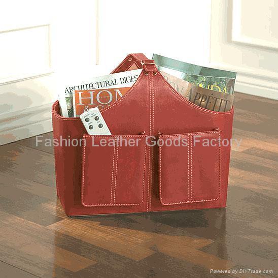 Faux Leather (PU, PVC) Or Genuine Leather Magazine Basket, Leather magazine tote 4