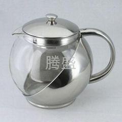 大容量1100毫升玻璃不锈钢茶壶