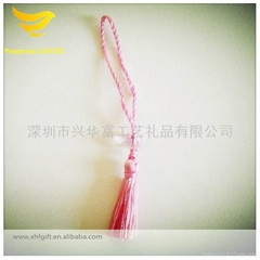 Pink decorative tassel with bead for cellphone
