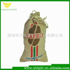 Natural drawstring jute packing bag with custom logo printed