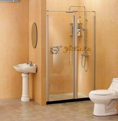 One fixed one linked outside hinged door shower screen