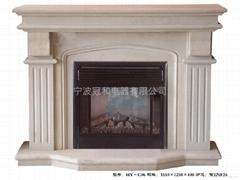 大理石壁炉 木化石 双层石锁壁炉