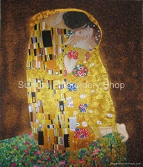 Collectible Chinese hand made silk embroidery art painting The kiss home decor