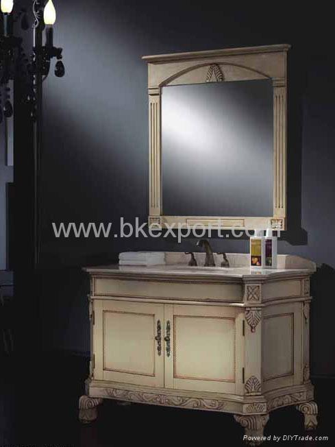 Solid oak wood bathroom cabinets with marble vanity top and ceramic basins nsvi804 newstar for Unfinished oak bathroom vanity cabinets