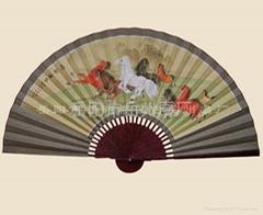 中堂大挂扇子-八骏图|手绘挂扇|仿斑花扇骨|工艺扇|岳州扇