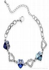 Fine White K Plated Rhinestone  Bracelet