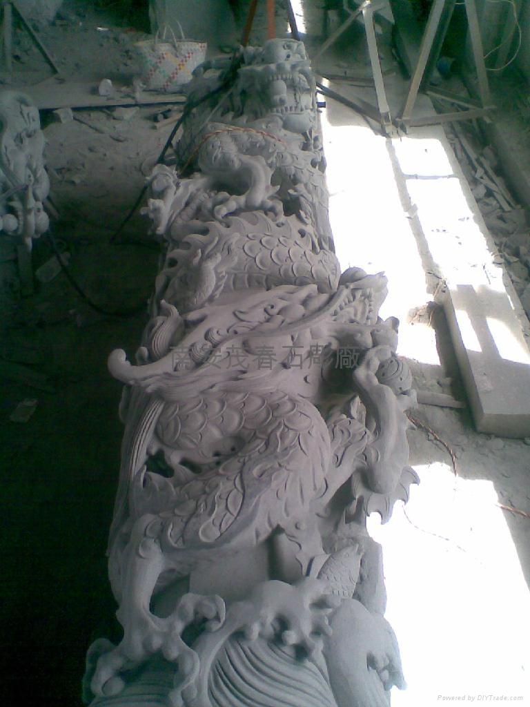 雙龍柱石雕 1
