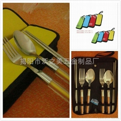 Portable Travel A set of Stainless cutlery (Bowls chopsticks spoons forks)