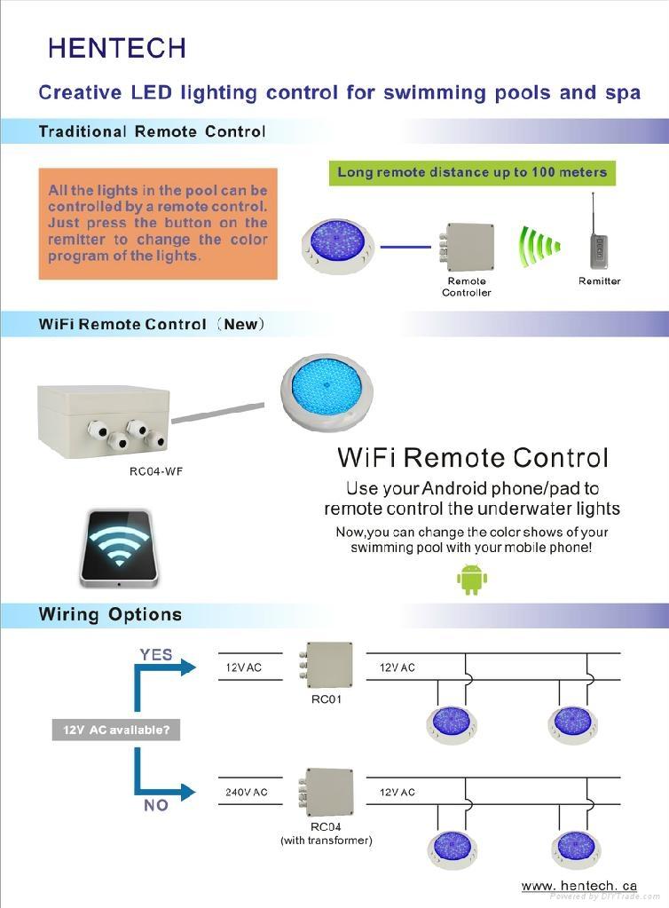 Wifi remote control IP68 waterproof  LED underwater swimming Pool light HT026C 5