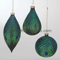 Sterling Christmas Ornament Painted glass Ball Tear drop Finial Peacock Feather