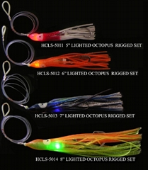 LED Lighted Octopus Baits - Rigged Set