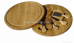4pcs cheese knife set with wooden case