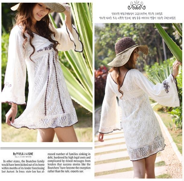 Korean Style Hollow-out Knitting Lace Dress 4