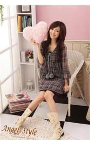 Korean Style Knitted Flower Sleeve Checked Chiffon Dress 1
