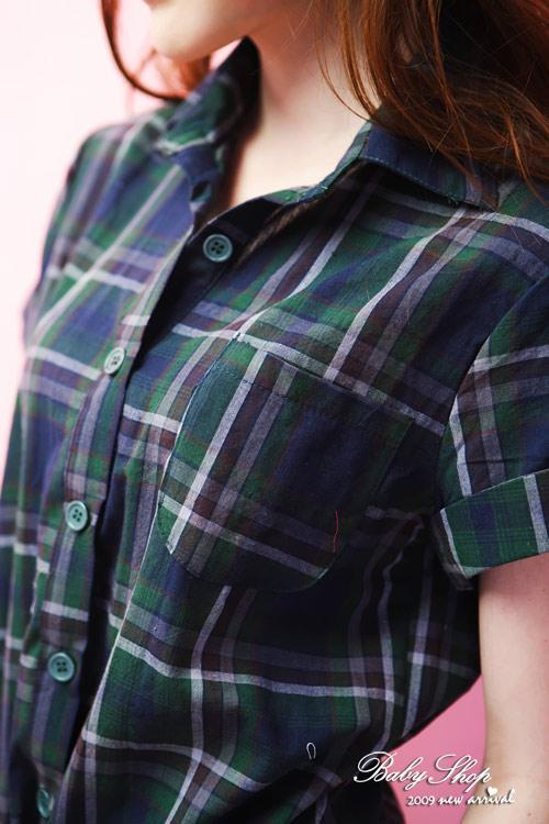 Korean Style Fashion Short Sleeve Checked Dress 3