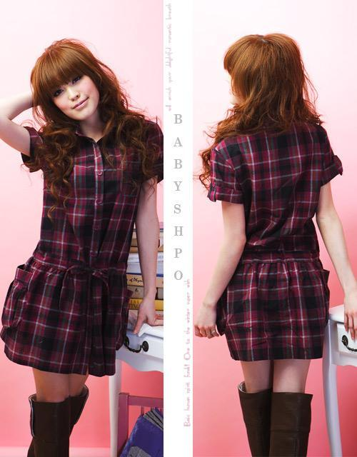 Korean Style Fashion Short Sleeve Checked Dress 5