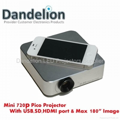 mini 720p projector built in USB/SD/HDMI ports with max 180inch image