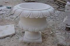 white sandstone flower pot