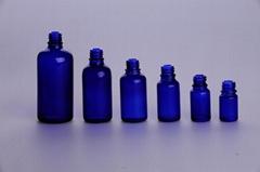 Blue Green glass drop dispensing bottle DIN PP 18MM