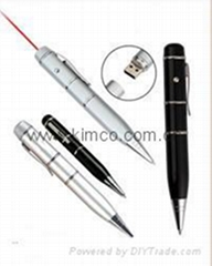 Sell ballpoint laser pointer USB pen memory drive customize logo
