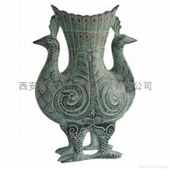 双凤尊高仿古董青铜器