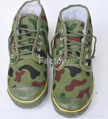 Camouflage three defence warm  shoes
