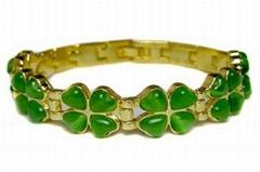 Alloy Magnetic Bracelets with Gemstones