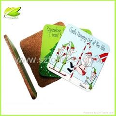 Christmas  MDF Cork Coasters ,cork mat,cork cup