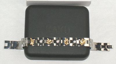 KAKU純鈦鍍金2粒金屬鍺手鏈 1