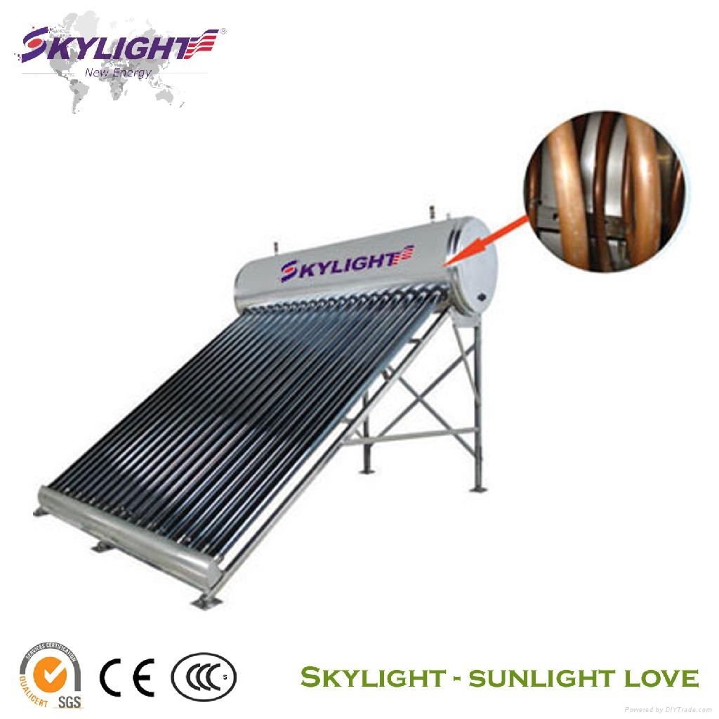 Solar Water Heater With Copper Coil Slits Skylight