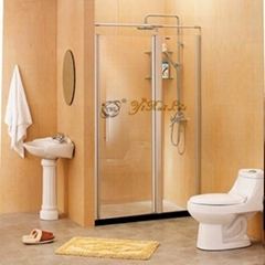 One door outside swing tempered glass shower door QB48-1