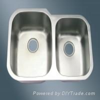 Large Offset Double Bowl Stainless Steel Undermount Kitchen Sink