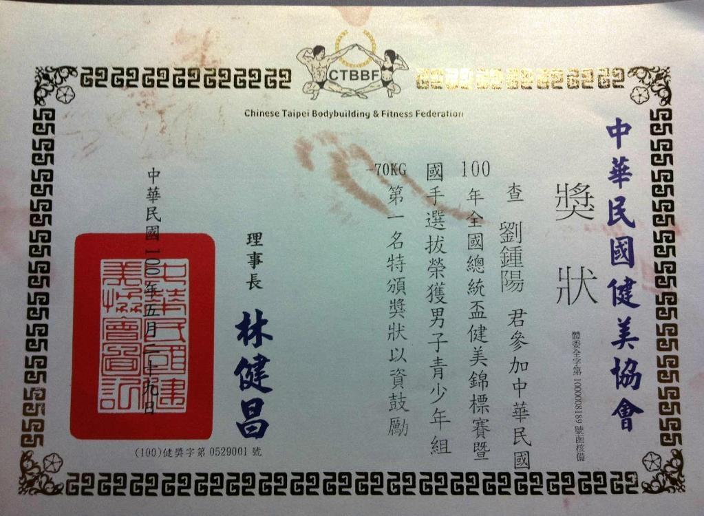 2011.民國100年本網客戶全國健美比賽獎狀