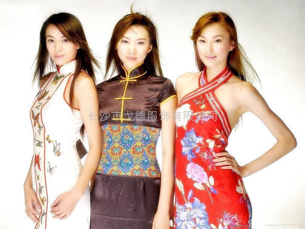 高挑旗袍美女制服透明旗袍女人日本制服装短裙美女