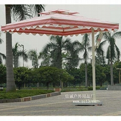 四方太陽傘(紅白相間傘布)