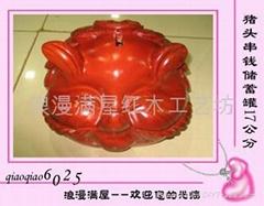 浪漫滿屋紅木工藝品-0160457楠木豬頭串錢儲蓄罐