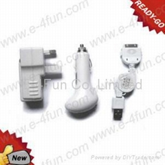 3 in 1 USB Car Wall Charger For iPad iPhone iPod Touch