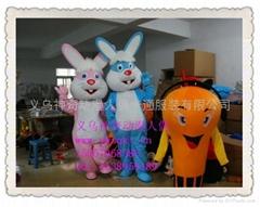 卡通服裝藍色粉色兔子