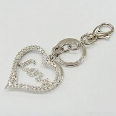 金属满钻心形钥匙扣饰品挂件