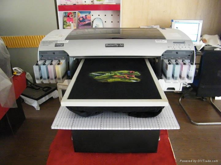 A2 size digital t shirt printer butterfly jet focus for Digital printing for t shirts