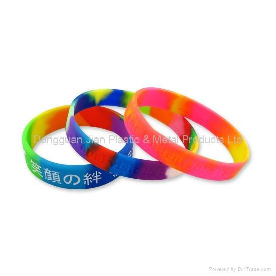 Segmented Color Silicone Bracelets 1