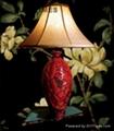 table lamp w/peonies