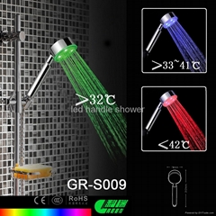 temperature controled led shower head light
